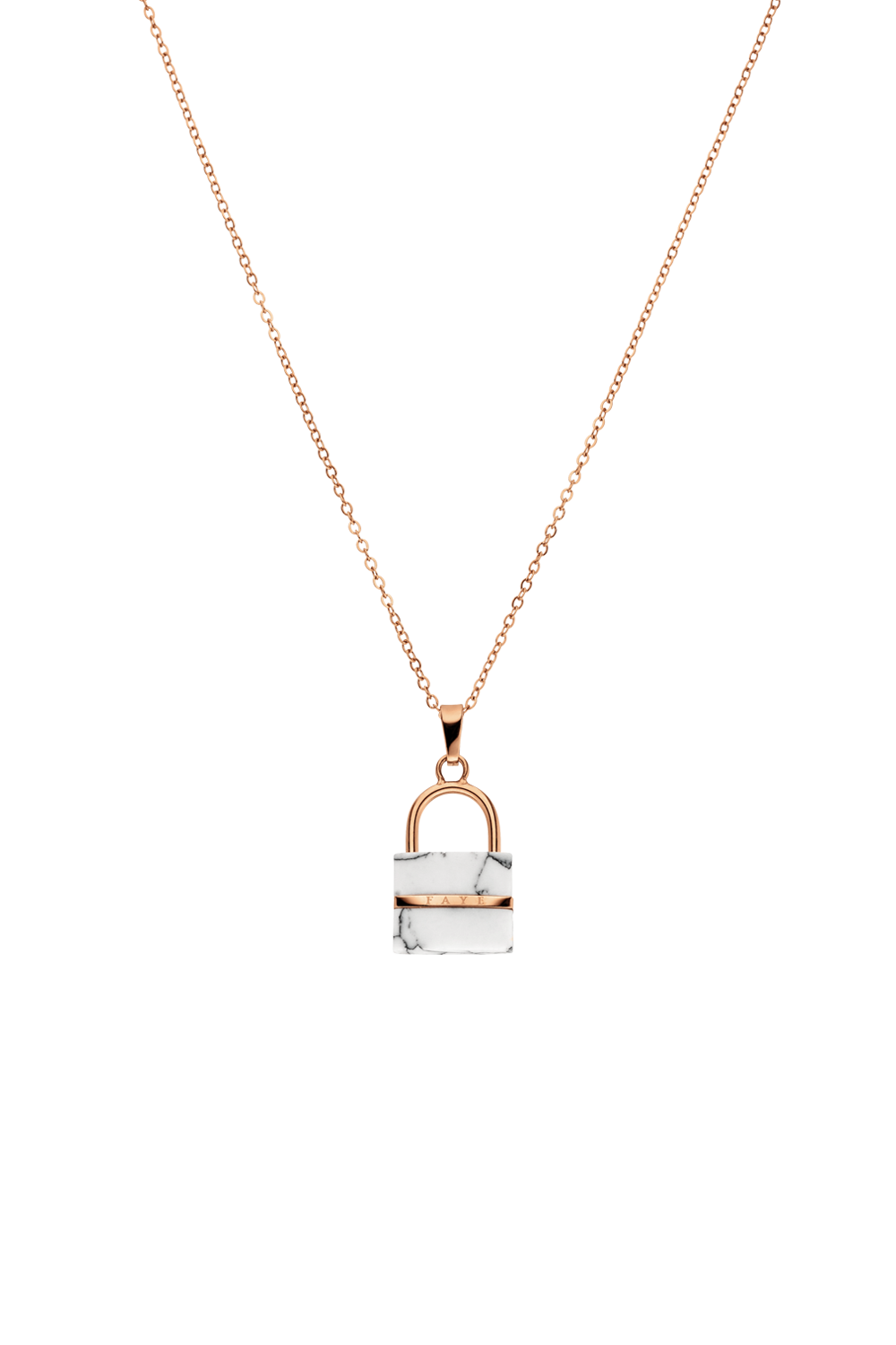 WHITE MARBLE PADLOCK NECKLACE ROSÉGOLD