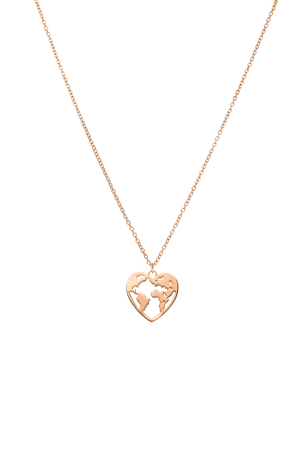 HEART SHAPED WORLD NECKLACE ROSÉGOLD