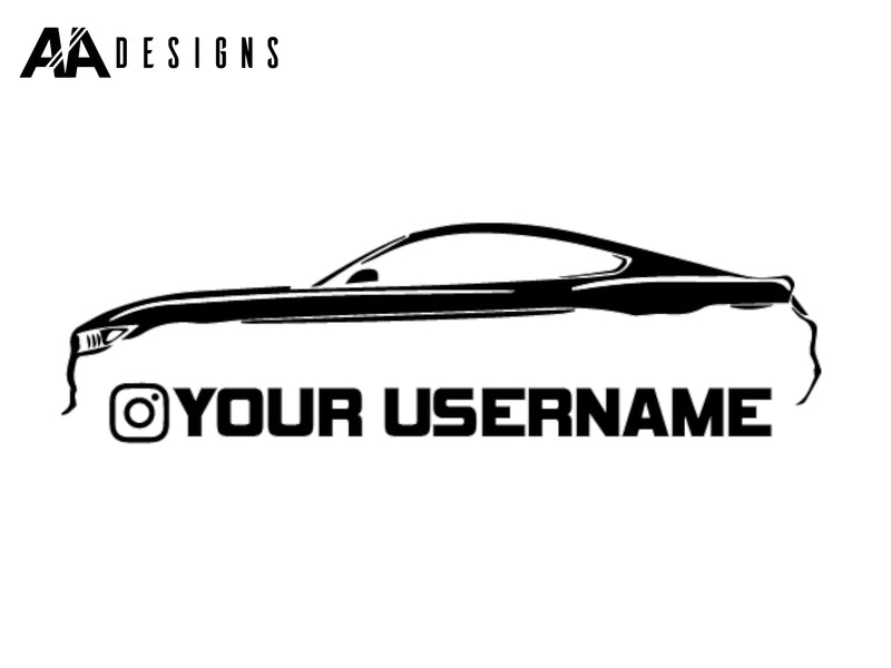 "10"" Decal - 2015-17 Mustang Silhouette Instagram Username - Vinyl - AADesigns"