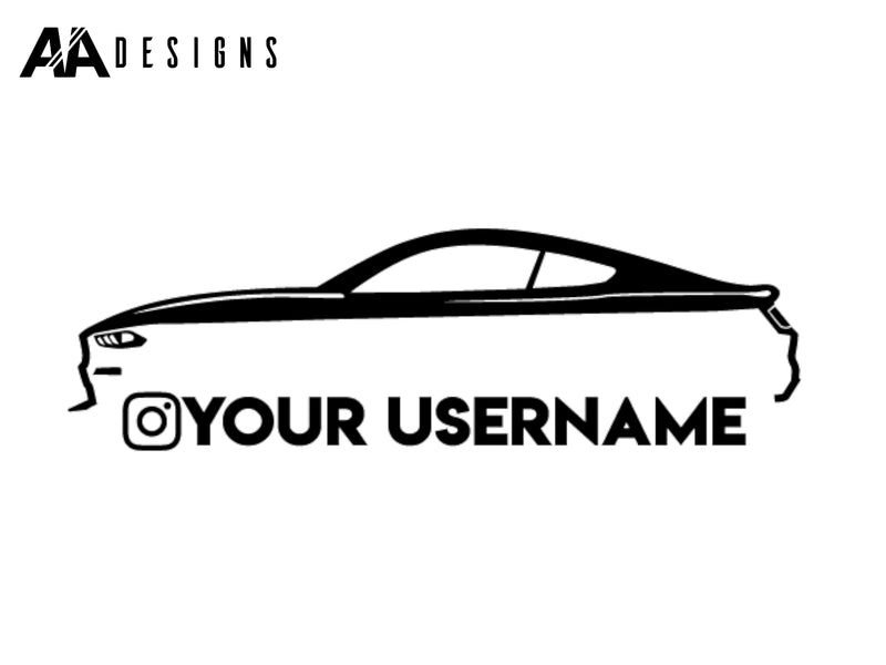 "12"" Decal - 2018-20 Mustang Silhouette Instagram Username - Vinyl - AADesigns"