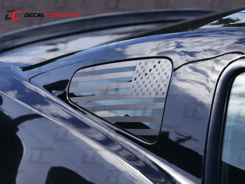 2010-14 Mustang - American Flag 1/4 Window Decal - Decal Concepts