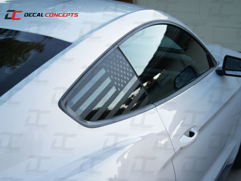2015-21 Mustang - American Flag 1/4 Window Decal - Decal Concepts