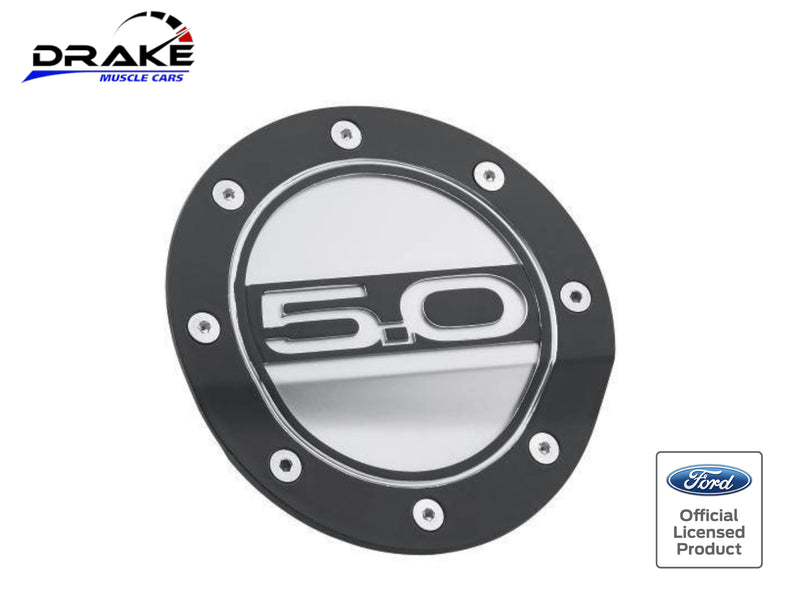 2015-21 Mustang - 5.0 Competition Series Fuel Door - Black and Silver - Drake Muscle