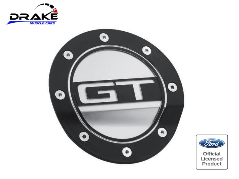 2015-21 Mustang - GT Competition Series Fuel Door - Black and Silver - Drake Muscle