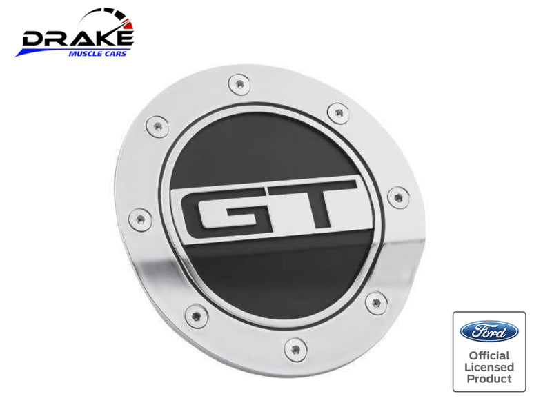 2015-21 Mustang - GT Competition Series Fuel Door - Silver and Black - Drake Muscle