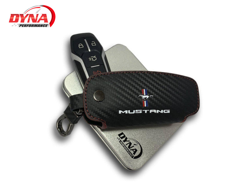 2015-20 Mustang - Leather Key Fob Cover - Carbon Fiber Style - Dyna Performance
