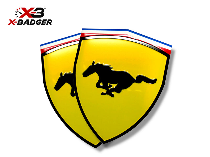2015-21 Mustang - Ferrari Style Badge - Aluminum - Yellow - X-Badger