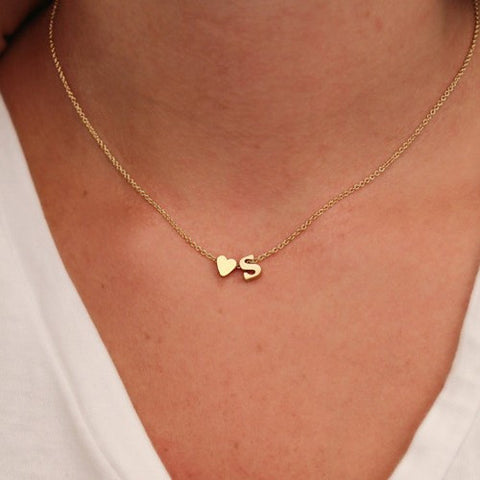 Simple Name Necklace with 26 Gold Letters  & Heart-shaped Charm Pendant The Perfect Lovers Gift + FREE SHIPPING