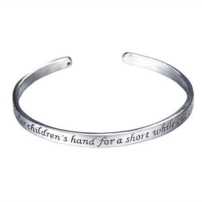 Stamped Letters  Engraved LOVE Cuff bangles A mother holds her children's hand for a short while but their hearts forever