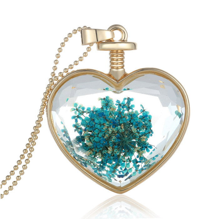 Lockets necklace for women With Real blue dried flower inside Heart pendant Memory