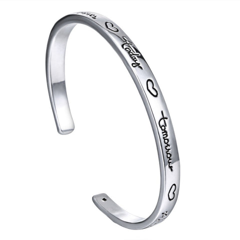 Cuff Bangle For Women Letter Love  forever today tommorow