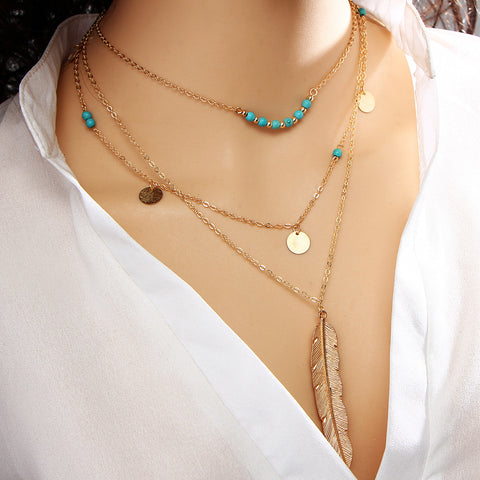 Multi Layer Leaf Chain Bohemian Choker Turquoise Necklaces for Women + FREE SHIPPING