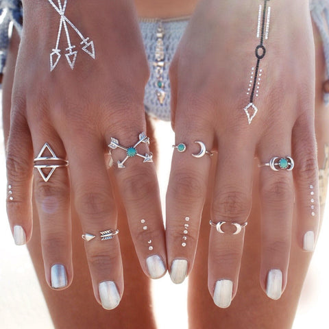 6PCS Vintage Turkish Beach Punk Moon Arrow Ring Set Ethnic Carved Silver Color Boho Midi Finger Ring Knuckle Charm