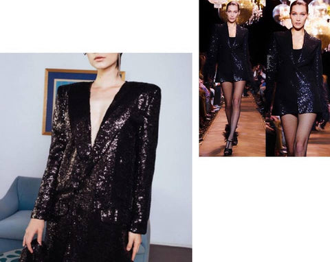 sequins blazer nyfw bella hadid michael kors catwalk black dress