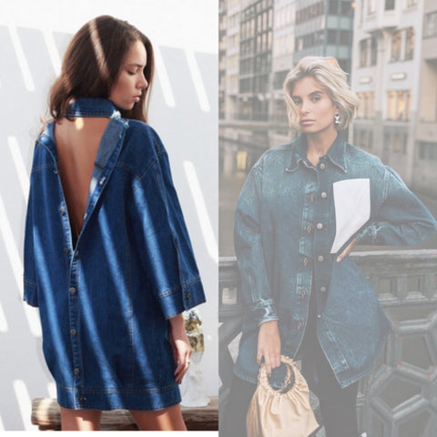 denim jacket dress xenia adonts fashion influencer blogger style