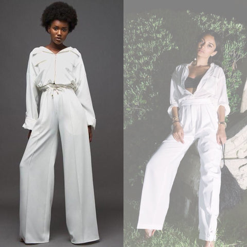 white jumpsuit overall trendy street trends amina muaddi total white alexandre vauthier style inspo kana collection