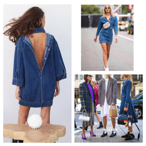denim dress denim jacket style inspo fashion celebrity stylist elizabeth sulcer street trends open back fashion week