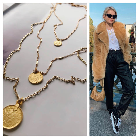 caro dour it girl style inspo fashionista fashion blogger mod and jo gold jewelry coin necklace