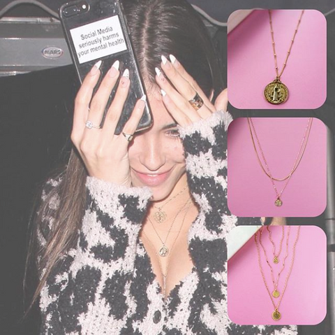 gold, jewelry, gold obsession, coin necklace, style inspo, celeb style, madison beer