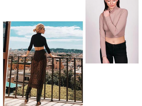 caro daur, fashion icon, influencer, fashionista, crop top, turtle neck, fendi, slate, earthy tones