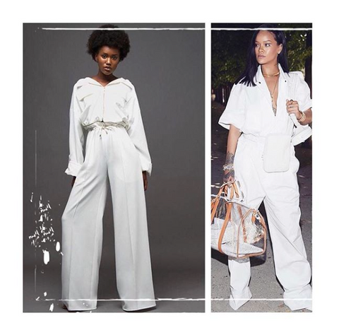 white jumpsuit, overalls, rihanna, white, louis vuitton, pfw, made in paris, celeb style