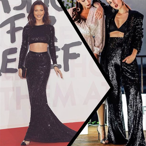 bella hadid, sequins, sequins dress, sequins suit, cannes, film festival, red carpet, black sequins