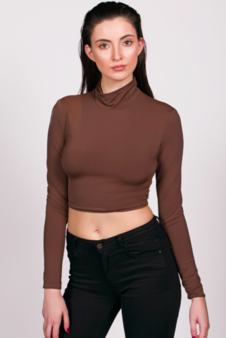 JIA JIA BOUTIQUE BOSSA CONTOUR CROP CHOCOLATE