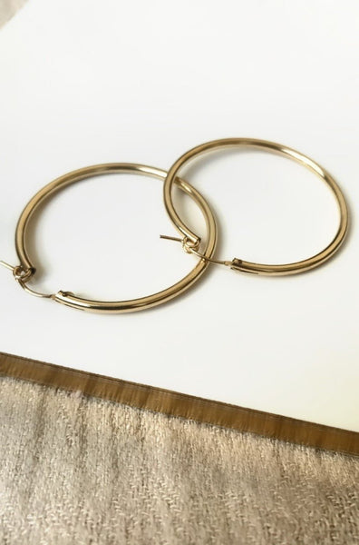 LUNA BONES 'HOLLOW' HOOPS - GOLD - jia jia boutique