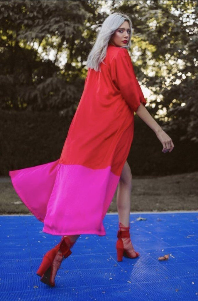 CACTUS THE BRAND 'RED N PINK' DUSTER COAT - jia jia boutique