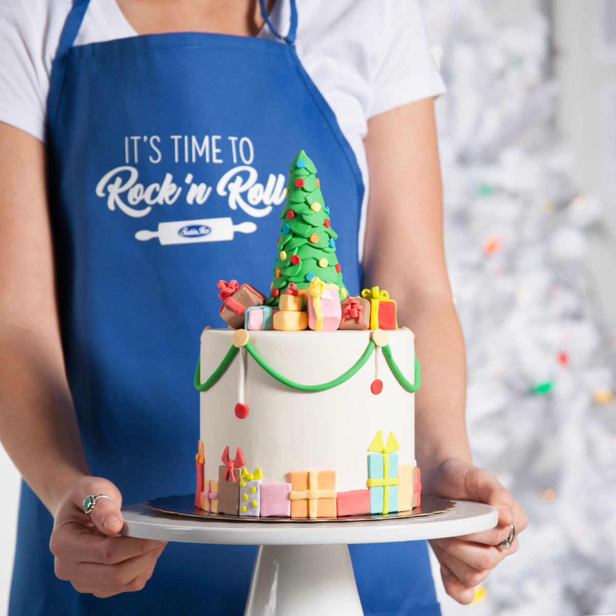 """Rock 'N Roll"" Adult Apron • Blue - Satin Ice"