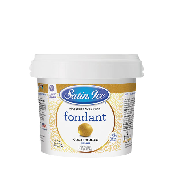 Satin Ice Gold Shimmer Fondant - 5lb. Pail - Satin Ice