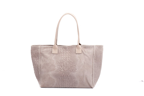 GIULIA leather bag with snake print light pink
