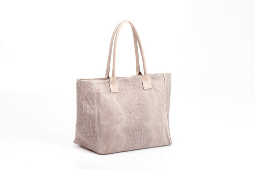 GIULIA leather bag with snake print beige