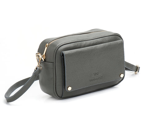 Grey basic leather bag