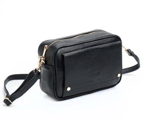 Black basic leather bag