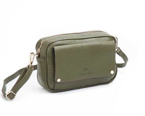 Green basic leather bag