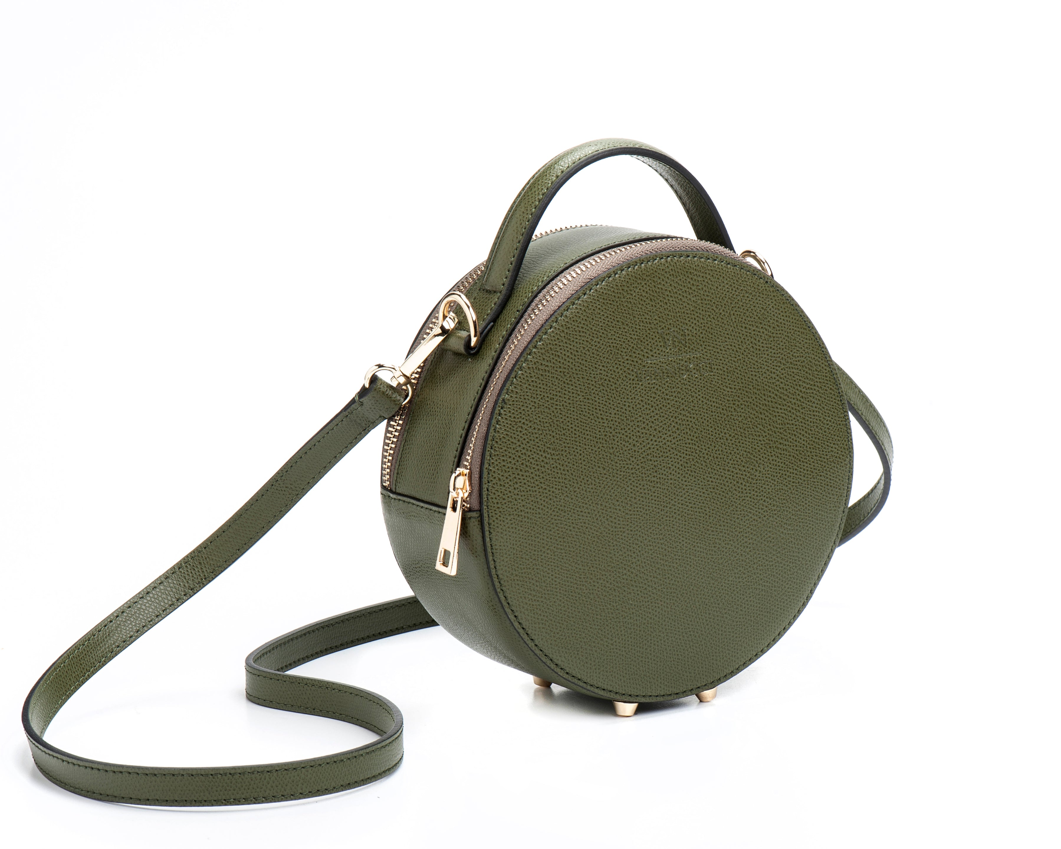 Round leather bag Green