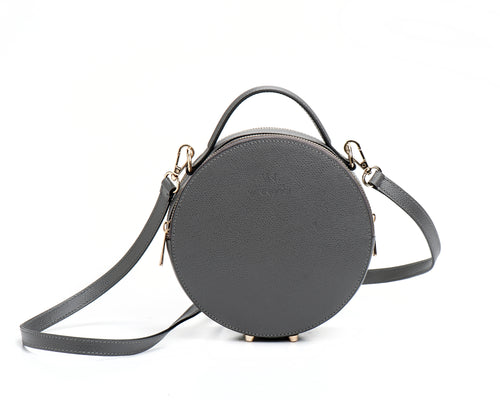 Round leather bag Grey