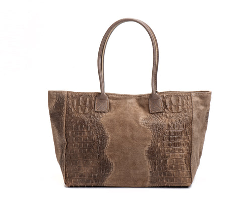 GIULIA leather bag with snake print Camel
