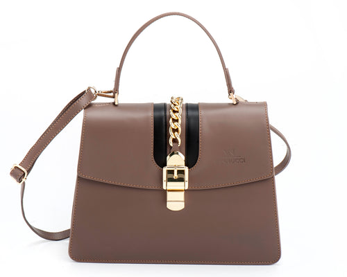 Veronica large leather bag beige