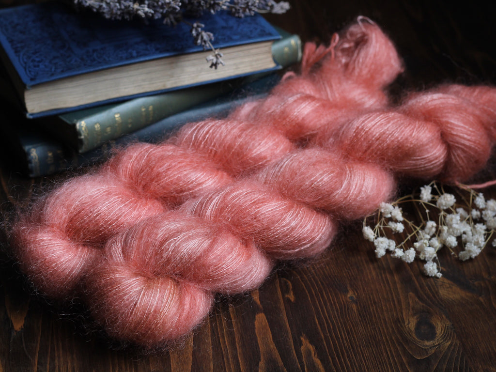 High Feather - Coral - Lace Weight Mohair Silk