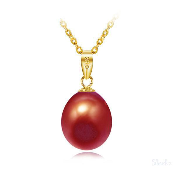 18k Gold Pearl Necklace Red Brown