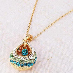 Gold Multi-colored Crystal Rhinestone Necklace