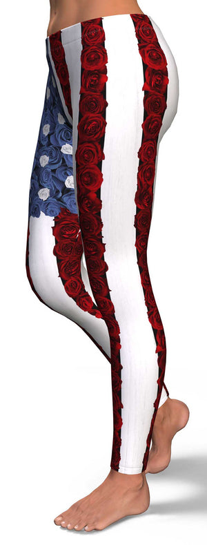Roses American Flag Leggings