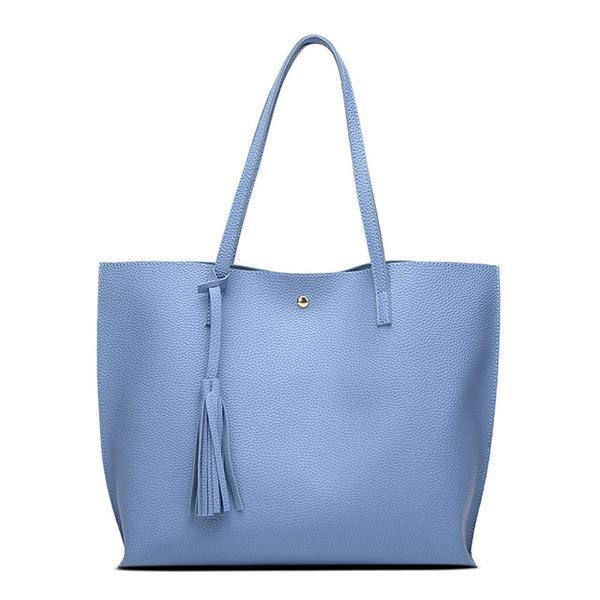 Soft Leather Tote Hand Bag blue
