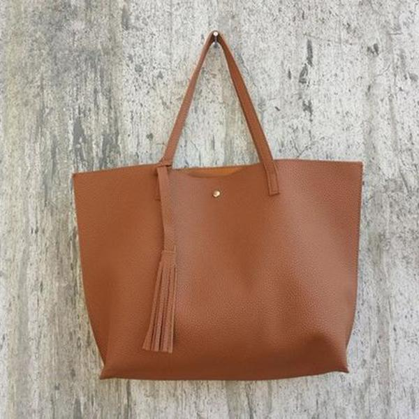 Soft Leather Tote Hand Bag brown