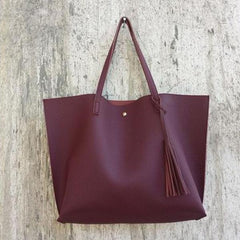 Soft Leather Tote Hand Bag burgundy