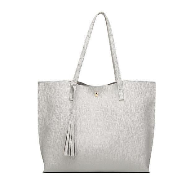 Soft Leather Tote Hand Bag gray