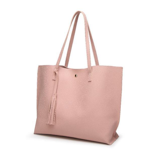 Soft Leather Tote Hand Bag Pink
