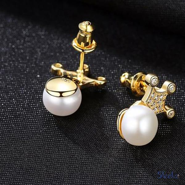 Sterling Silver Crown Pearl Earrings